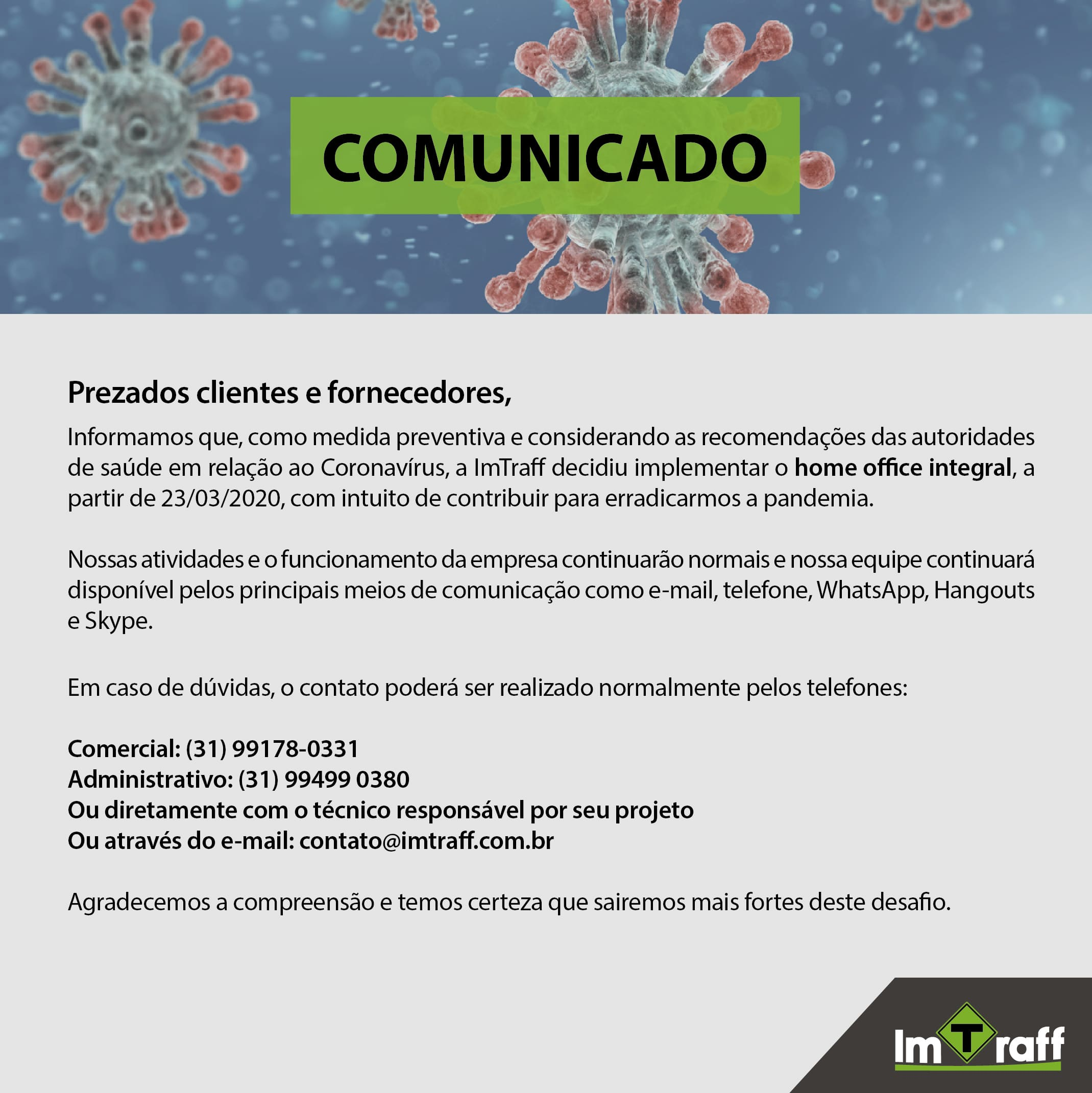 Comunicado ImTraff – COVID-19